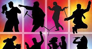 Disegno colorato di persone che ballano, saltano, cantano e si divertono