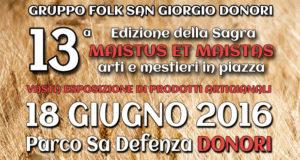 Banner Tredicesima Edizione della Sagra Maistus et Maistas, arti e mestieri in piazza - Donori, Parco Sa Defenza - 18 Giugno 2016 - ParteolalClick
