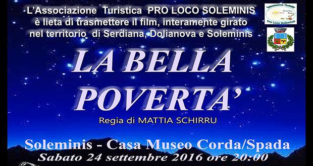 Baner Proiezione del Film La Bella Povertà di Mattia Schirru - Soleminis - 24 Settembre 2016 - ParteollaClick