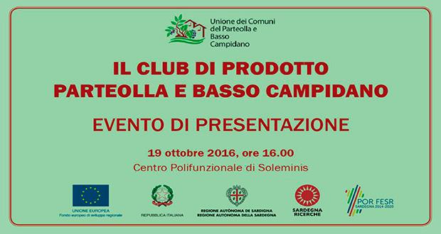 Banner Presentazione del progetto Club di Prodotto Parteolla e Basso Campidano - Soleminis - 19 Ottobre 2016 - ParteollaClick