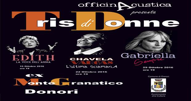 Banner Tris di Donne, Rassegna Artistica all'Ex Montegranatico - Donori - Sabato 15, 22 e 29 Ottobre 2016 - ParteollaClick
