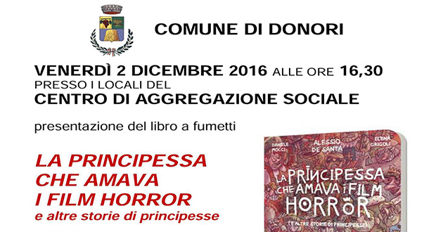 Banner Presentazione del libro a fumetti La Principessa che amava i Film Horror - Donori - 2 Dicembre 2016 - ParteollaClick