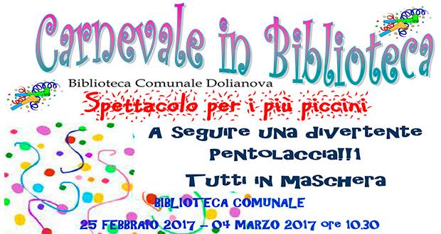 Banner Carnevale 2017 in Biblioteca - Dolianova, Biblioteca Comunale - Sabato 25 Febbraio e 4 Marzo 2017 - ParteollaClick