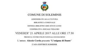 Banner Presentazione del libro L'Enigma di Dante di Alessio Corda - Soleminis, Centro Polifunzionale, Via Sirios 1 - 21 Aprile 2017 - ParteollaClick