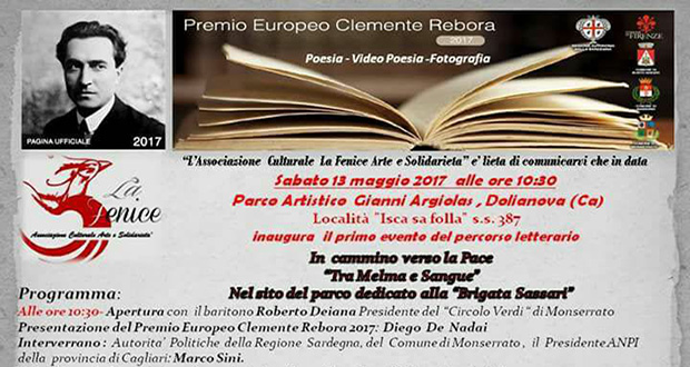 Banner Primo evento del Premio Europeo Clemente Rebora 2017 - Dolianova, Parco Artistico Gianni Argiolas - 13 Maggio 2017 - ParteollaClick