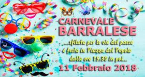 Banner Carnevale Barralese 2018 - Barrali, Piazza del Popolo - Domenica 11 Febbraio - ParteollaClick
