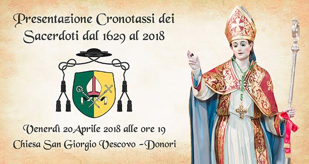 Banner Presentazione Cronotassi Sacerdoto dal 1629 al 2018 - Donori - 20 Aprile 2018