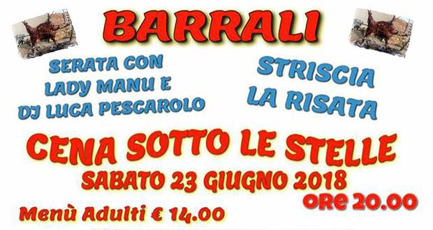 Banner Cena Sotto le Stelle 2018 - Barrali - 23 Giugno 2018 - ParteollaClick