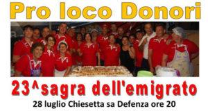 Banner 23ª Sagra dell'Emigrato, cena con degustazioni di prodotti locali - Donori, Parco della Chiesetta di Sa Defenza - 28 Luglio 2018 - ParteollaClick