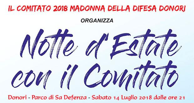 Banner Party Notte d'Estate con il Comitato Madonna della Difesa - Donori, Parco Sa Defenza - 14 Luglio 2018 - ParteollaClick