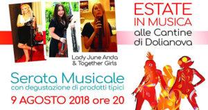 Banner Degustazioni e Musica, alle Cantine, con Lady June Anda & Together Girls - Cantine Sociali di Dolianova - 8 Agosto 2018 - ParteollaClick