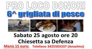 Banner Grigliata di Pesce Sotto le Stelle 2018 - Donori, Parco Sa Defenza - 25 Agosto 2018 - ParteollaClick
