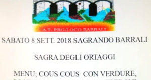 Banner Sagra degli ortaggi - Barrali - 8 Settembre 2018 - ParteollaClick