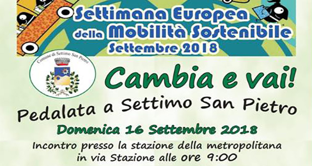 Banner Cambia e Vai - Pedalata per la Settimana Europea della Mobilità - Settimo San Pietro - 16 Settembre 2018 - ParteollaClick