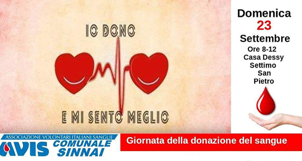 Banner Giornata della Donazione di Sangue - Settimo San Pietro, Casa Dessy - 23 Settembre 2018 - ParteollaClick