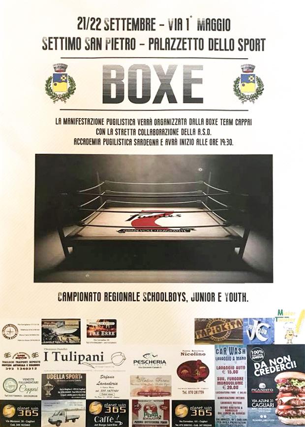 Banner Incontri di Boxe del campionato regionale schoolboys, junior e youtht - Settimo San Pietro - 21 e 22 Settembre 2018 - ParteollaClick