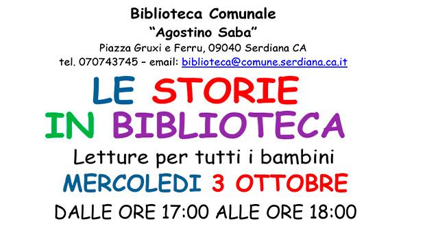 Banner Le Storie in Biblioteca, lettura di storie per bambini - Serdiana - 3 Ottobre 2018 - ParteollaClick
