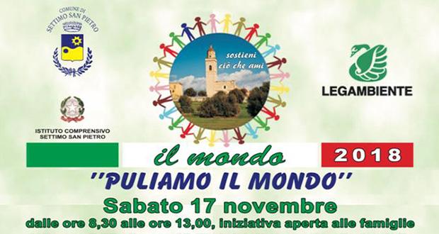 Banner Puliamo il Mondo 2018, giornata di volontariato ambientale sui rifiuti abbandonati - Settimo San Pietro - 17 Novembre 2018 - ParteollaClick