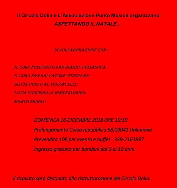 Aspettando il Natale 2018 - Dolianova, Circolo Dolia, Corso Repubblica 58 - Domenica 16 Dicembre 2018 alle ore 19:30 - Spettacolo musicale con cena a buffet
