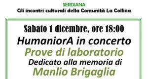 Banner HumaniorA in concerto Prove di Laboratorio, in ricordo di Manlio Brigaglia - Comunità La Collina, Serdiana - 1 Dicembre 2018 - ParteollaClick