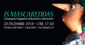Banner Spettacolo de Is Mascareddas, compagnia viaggiante di Burattini e Marionette - Settimo San Pietro, Casa Dessy - 28 Dicembre 2018 - ParteollaClick
