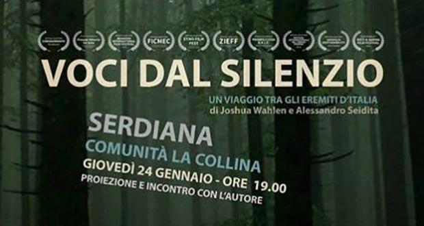 Banner Proiezione del film documentario VOCI NEL SILENZIO - Comunità La Collina, Serdiana -24 Gennaio 2019 - ParteollaClick