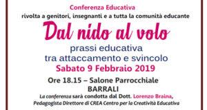 Banner Conferenza educativa Dal nido al volo. Prassi educativa tra attaccamento e svincolo - Barrali - 9 Febbraio 2019 - ParteollaClick