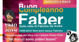 Banner Serata culturale Buon Compleanno Faber, vent'anni senza Fabrizio De Andrè - Comunità La Collina, Serdiana - 7 Febbraio 2018 - ParteollaClick