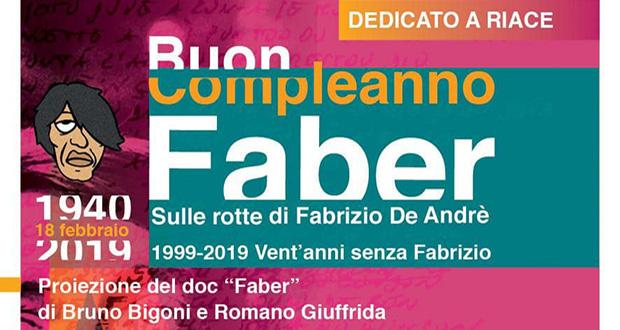 Banner Serata culturale Buon Compleanno Faber, vent'anni senza Fabrizio De Andrè - Settimo San Pietro - 10 Febbraio 2019 - ParteollaClick