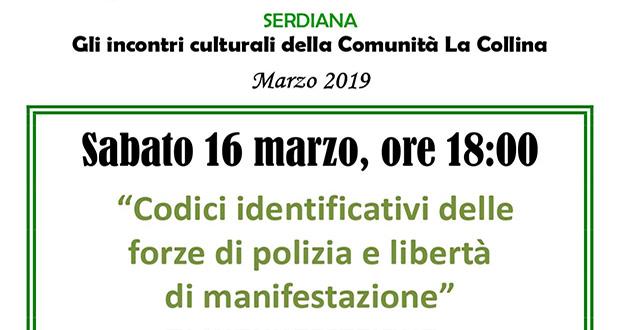 Banner Incontro dibattito Codici identificativi delle forze di polizia e libertà di manifestazione - Comunità La Collina, Serdiana - 16 Marzo 2019 - ParteollaClick
