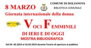 Banner Voci Femminili di ieri e di oggi, mostra bibliografica per la Festa della Donna - Dolianova - Dal 4 al 16 Marzo 2019 - ParteollaClick