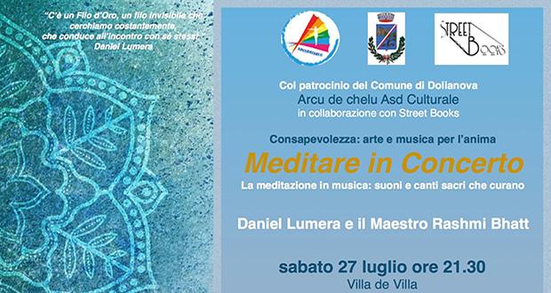 Banner Concerto meditativo Meditare in concerto - La meditazione in musica suoni e canti sacri che curano - Dolianova - 27 Luglio 2019 - ParteollaClick