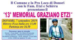 Banner 13° Memorial Graziano Etzi - Donori, Piazza Italia - 7 Settembre 2019 - ParteollaClick