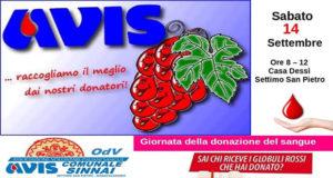 Banner Giornata della Donazione di Sangue - Settimo San Pietro, Casa Dessy - 14 Settembre 2019 - ParteollaClick