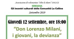 Banner Incontro Culturale Don Lorenzo Milani, i giovani, la devianza - Comunità La Collina, Serdiana - 12 Settembre 2019 - ParteollaClick