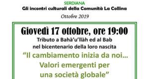 Banner Incontro Culturale Il cambiamento inizia da noi… Valori emergenti per una società globale - Comunità La Collina, Serdiana - 17 Ottobre 2019 - ParteollaClick