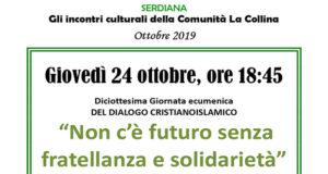 Banner Incontro Culturale Non c'è futuro senza fratellanza e solidarietà - Comunità La Collina, Serdiana - 24 Ottobre 2019 - ParteollaClick