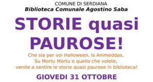 Banner STORIE quasi PAUROSE laboratorio di lettura in Biblioteca - Serdiana - 31 Ottobre 2019 - ParteollaClick