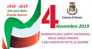 Banner Giornata dell'unità nazionale delle forze armate e dei caduti in guerra - Donori - 4 Novembre 2019 - ParteollaClick