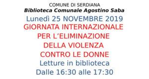 Banner Giornata internazionale per l'eliminazione della violenza contro le donne - Serdiana - 25 Novembre 2019 - ParteollaClick