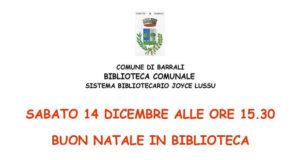 Banner BUON NATALE IN BIBLIOTECA 2019, laboratorio creativo e letture natalizie per bambini - Barrali, Biblioteca Comunale - 14 Dicembre 2019 - ParteollaClick