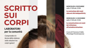 Banner SCRITTO SUI CORPI, laboratori contro la violenza di genere in Biblioteca - Settimo San Pietro - Mercoledì 4 e 11 Dicembre 2019 - ParteollaClick
