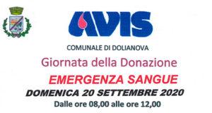 Banner Giornata della Donazione di Sangue 2020 nell'Associazione AVIS in Piazza Amendola - Dolianova - 20 Settembre 2020 - ParteollaClick
