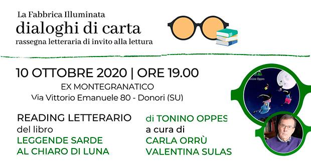 Banner Reading letterario del libro LEGGENDE SARDE AL CHIARO DI LUNA - Donori - 10 Ottobre 2020 - ParteollaClick