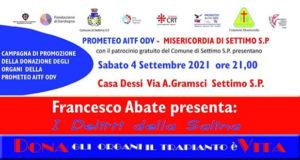 Banner Presentazione del libro I delitti della salina di e con Francesco Abate - Settimo San Pietro - 4 Settembre 2021 - ParteollaClick